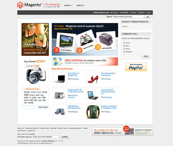 Demo Site magento frontend